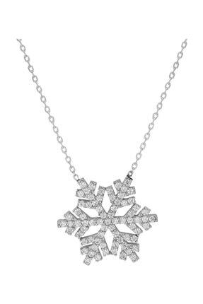 Chavin Kadın Kar Tanesi Zirkon Taşlı Gümüş Kolye Dy69by