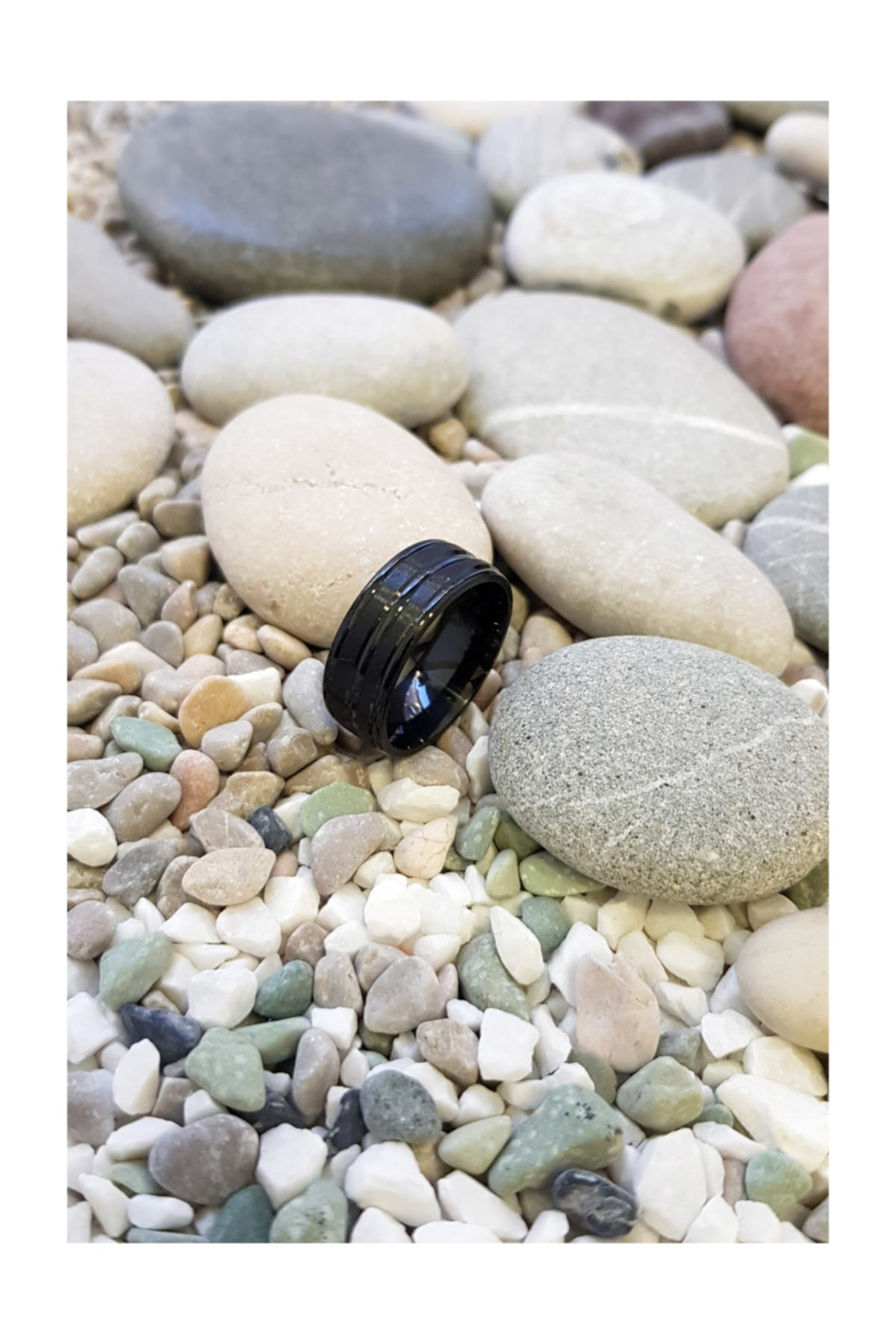 Chavin Unisex Siyah ip Kaplama Çelik Yüzük Alyans ehy-ehy-ec43sy 2