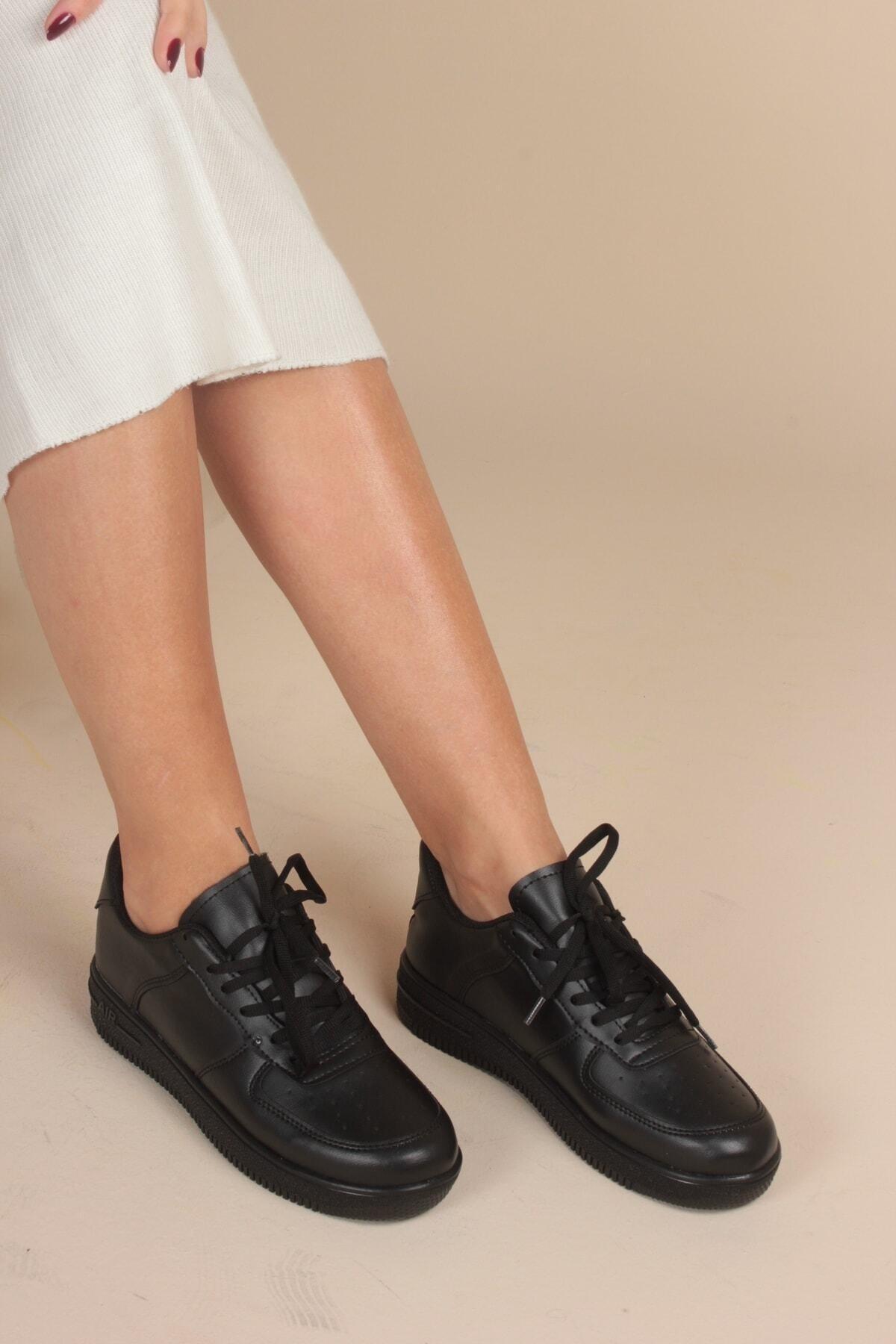 İnan Ayakkabı Kadın Siyah Cilt Sneaker 2