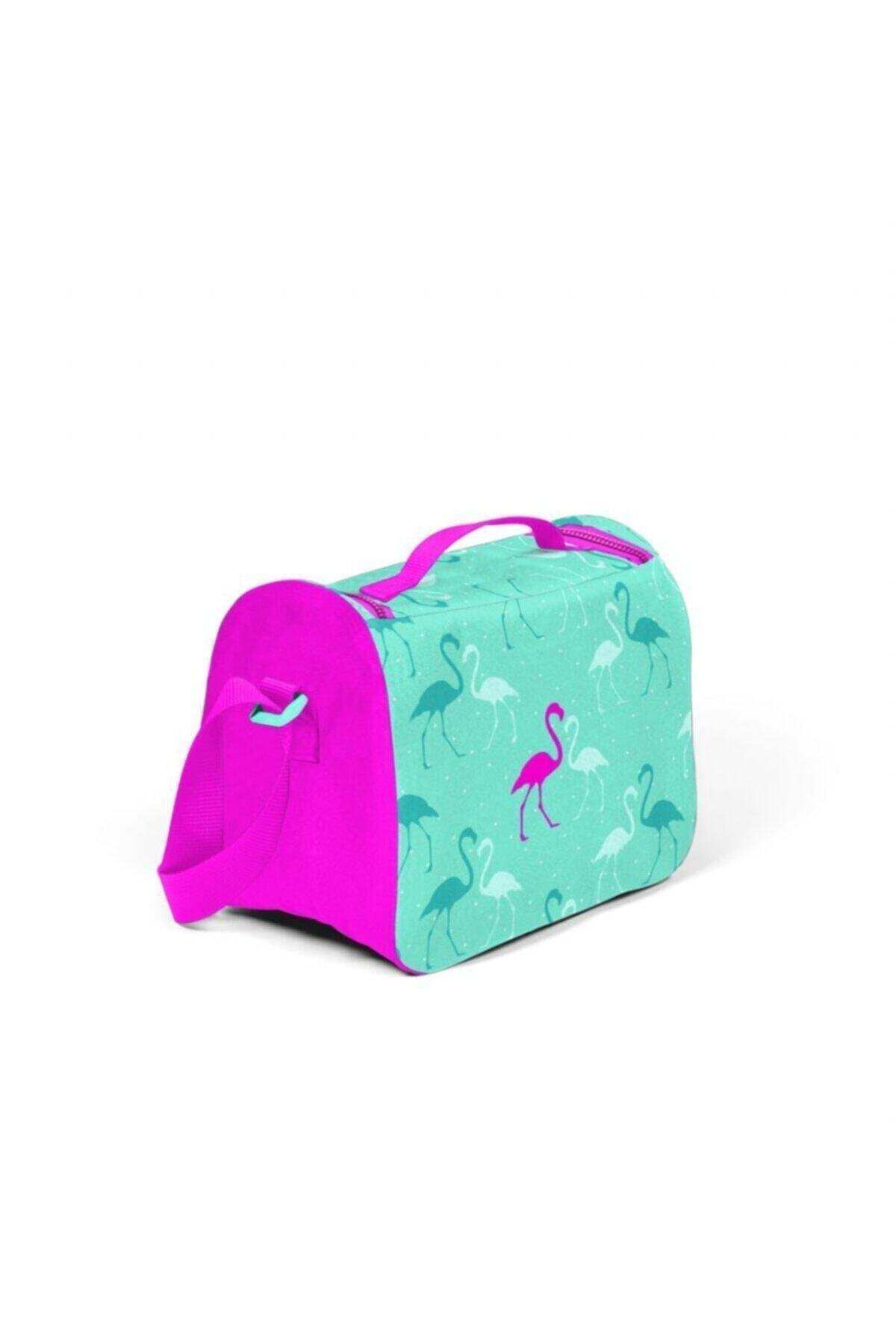 Yaygan Çanta Kız Çocuk Pembe Yeşil Coral High Flamingo Desenli Termos Özellikli Beslenme Çantası 2