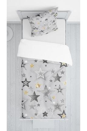 Lolla Gri Yıldızlar Kadife Dekoratif Örtü 76