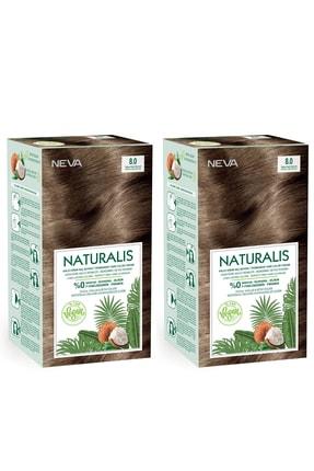 NEVA KOZMETİK Naturalis Saç Boyası 8.0 Yoğun Açık Kumral %100 Vegan 2'li Set