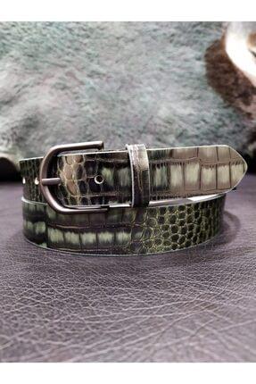 MOG Yeşil Krokodil 3cm Hakiki Deri Kemer