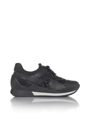 İnci Kadın Siyah Vegan Ciltdalgıç Slip On Bağcıklı Klasik Spor Ayakkabı -i3019