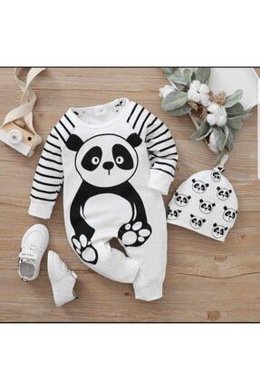Murat Baby Miniapple Panda Baskılı Çizgi Detaylı Şapkalı Tulum - Beyaz