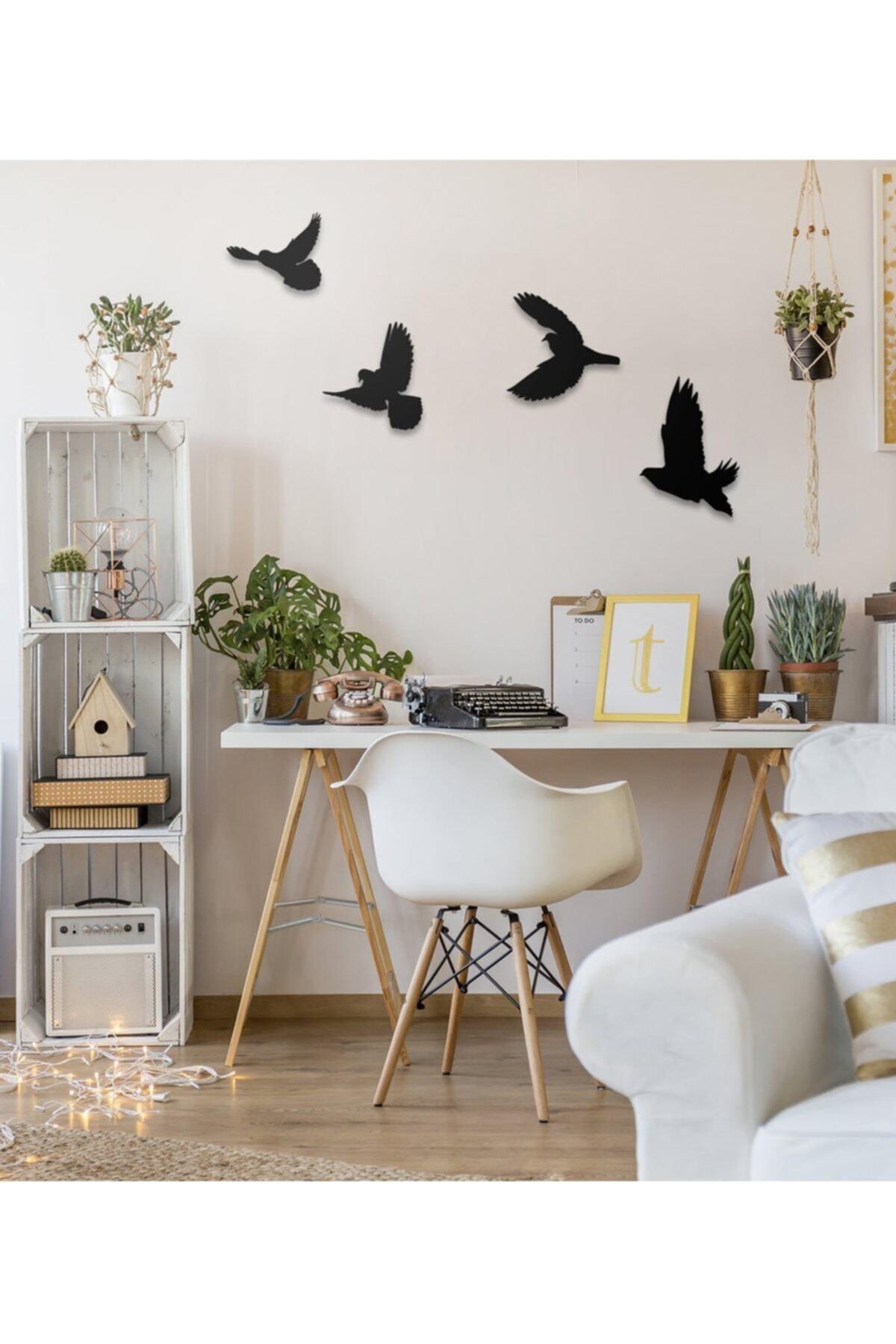 Ahşap Design Dekoratif Ahşap Modern Dörtlü Kuş Duvar Süsü Duvar Dekor 1