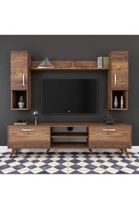 Rani Mobilya Rani A9 Duvar Raflı Kitaplıklı Tv Ünitesi Duvara Monte Dolaplı Modern Ayaklı Tv Sehpası Ceviz M27