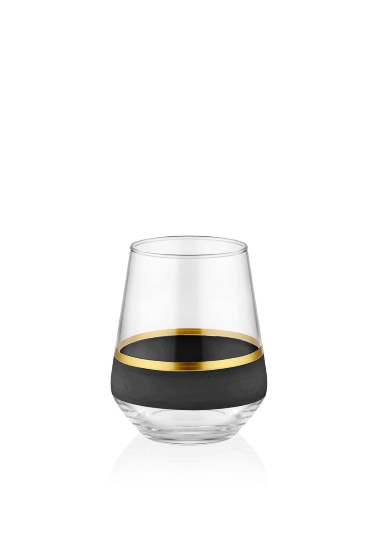 The Mia Glow Su Bardağı 6'lıı Set - Siyah & Gold 2