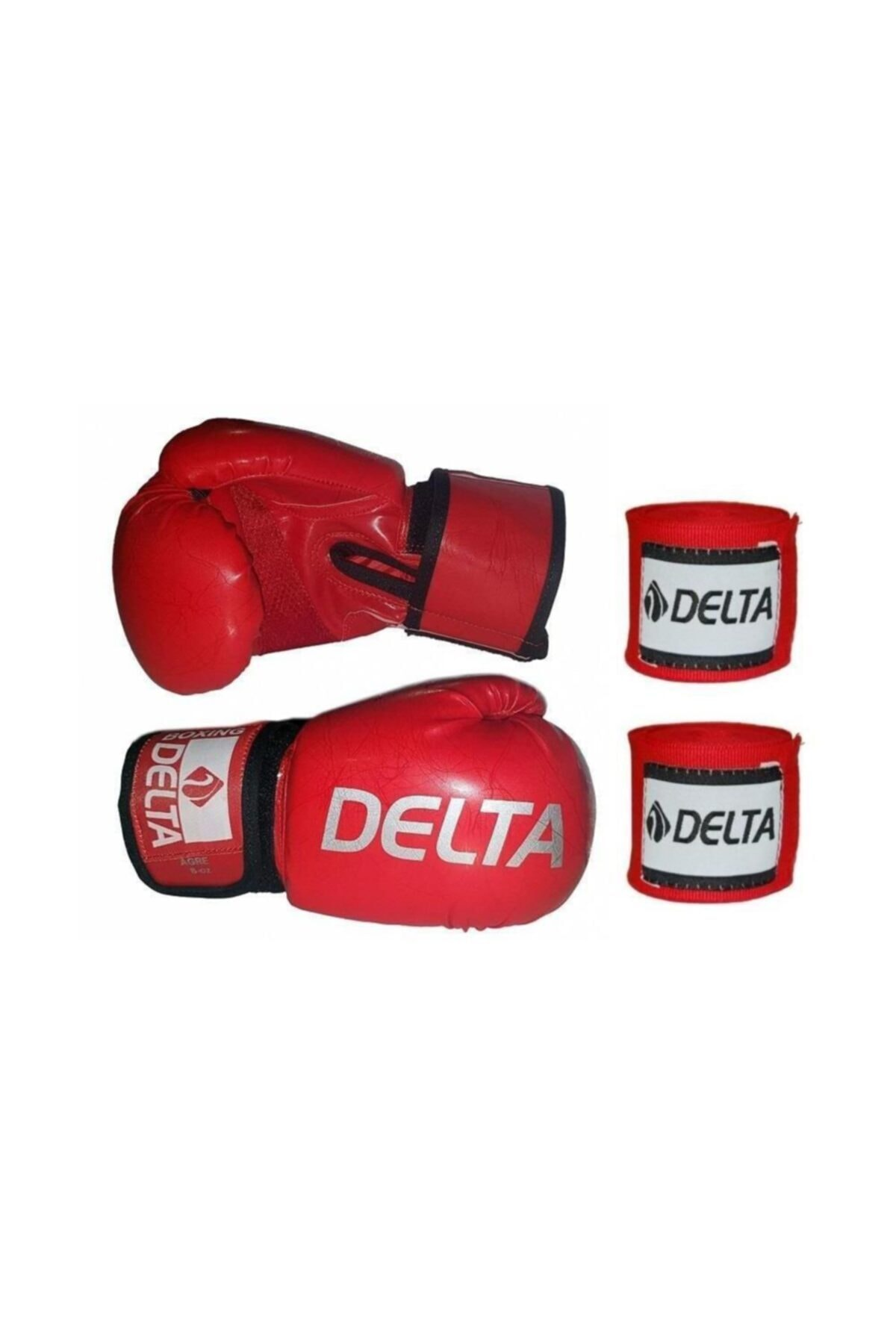Delta Agre Deluxe Pu Kırmızı Boks Eldiveni + Boks Bandajı Seti 1