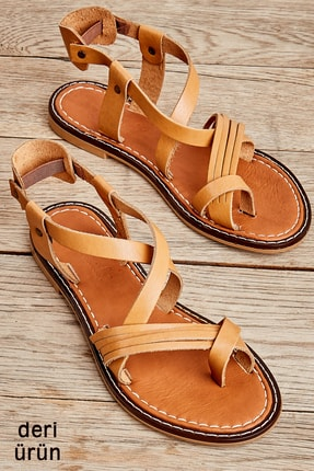 Bambi Hakiki Deri Taba Kadın Sandalet K05602808503