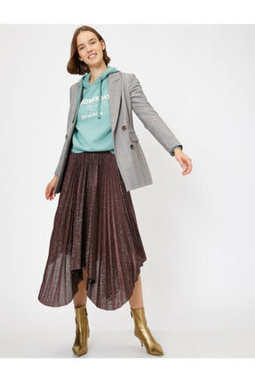 Koton Skirtly Yours Styled By Melis Agazat - Sim Detayli Pileli Asimetrik Etek