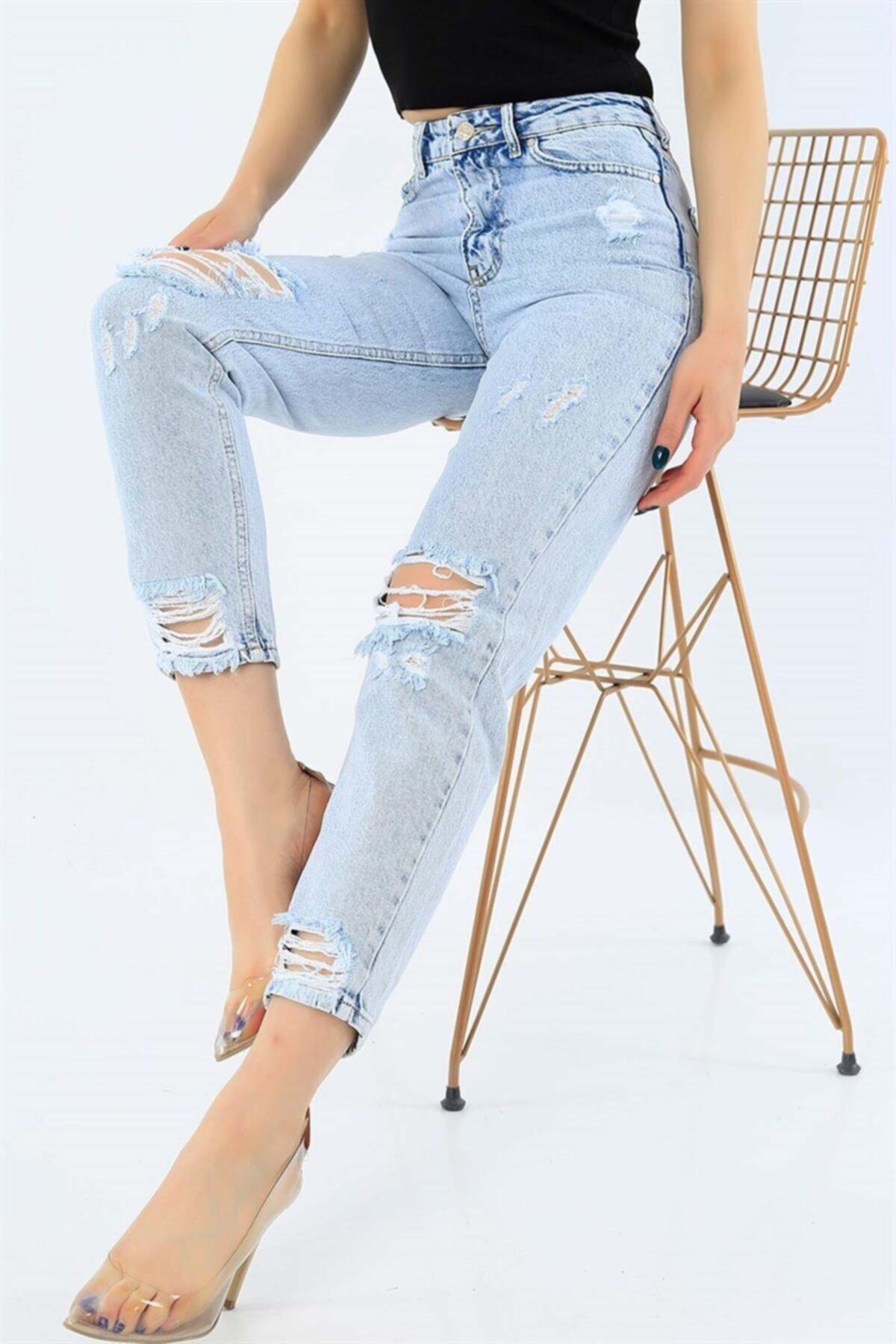 Mojo Mom Yüksek Bel Paperbag Kot Pantolon 1