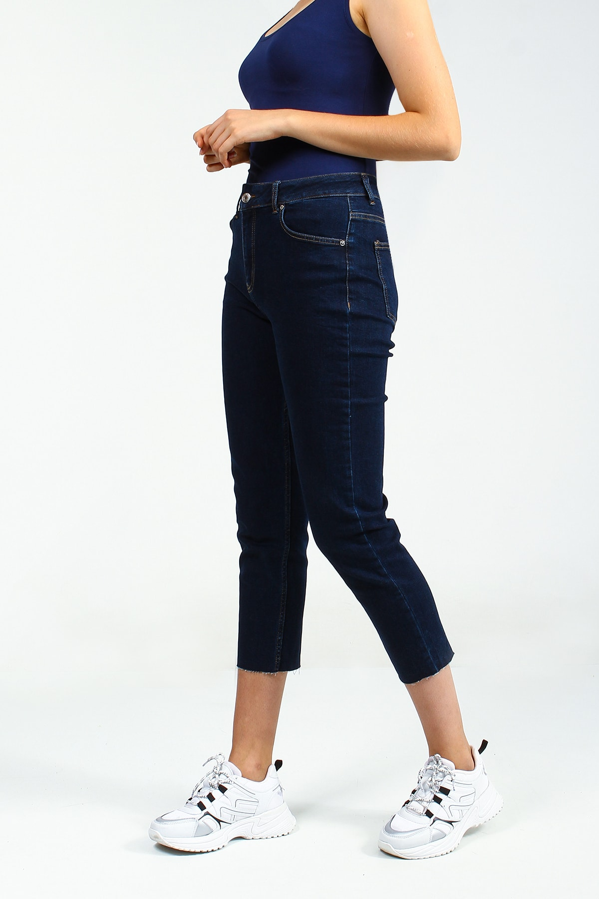 Collezione Koyu Mavi Kadın Denim Pantolon 2