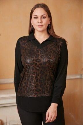 RMG Büyük Beden Yılan Derisi Baskılı Gömlek Yaka Bluz - 4392 Siyah