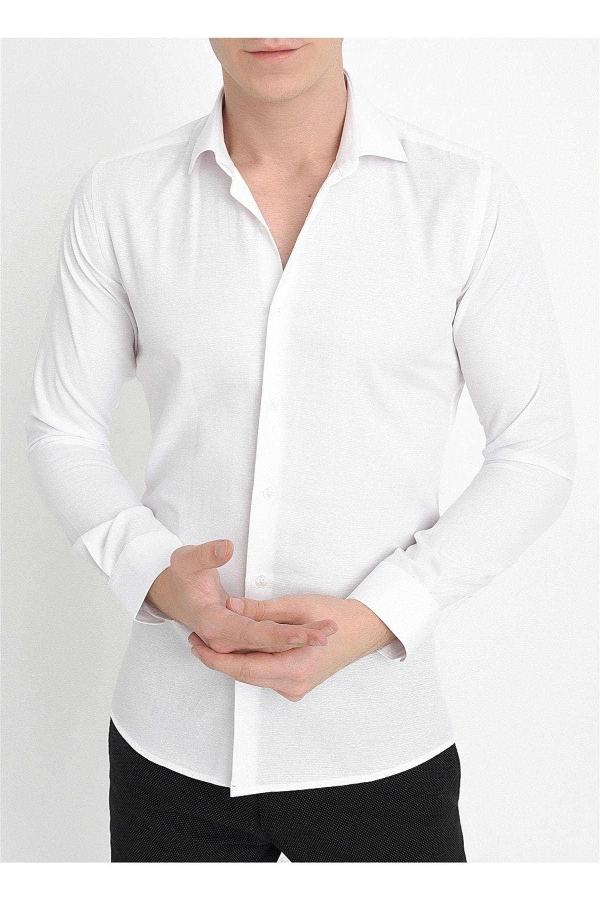 Efor Gk 568 Slim Fit Beyaz Klasik Gömlek 1