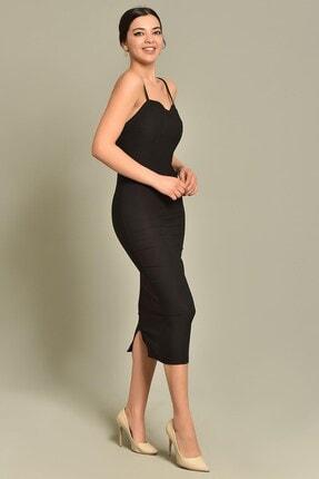 Modakapimda Siyah Ip Askılı Kalem Elbise