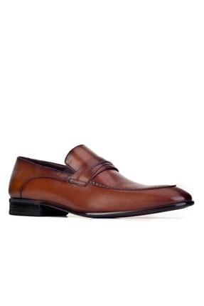 Cabani Kemer Detaylı Bağcıksız Kaymaz Taban Günlük Erkek Ayakkabı Kahve Deri