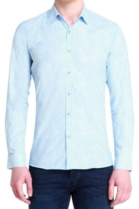 Efor G 1384 Slim Fit Mavi-beyaz Spor Gömlek