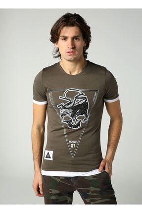 LTC Jeans Bisiklet Yaka Kuru Kafa Baskılı Erkek Haki T-shirt
