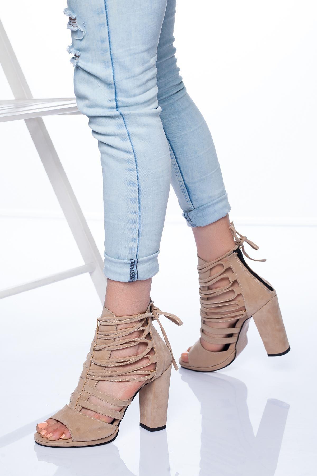 Ayakkabı Frekansı Petra Topuklu Ayakkabı Ten Süet 2