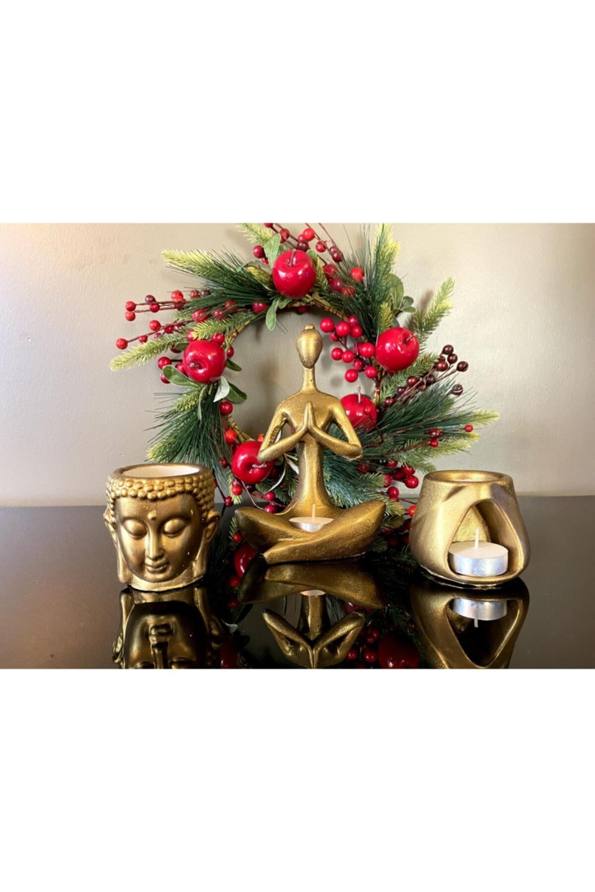 Talya Art Design , Buhurdanlık 3'lü Set, Koyu Altın Rengi, Namaste Kadın, Budha Ve Tad Buhurdanlık 1