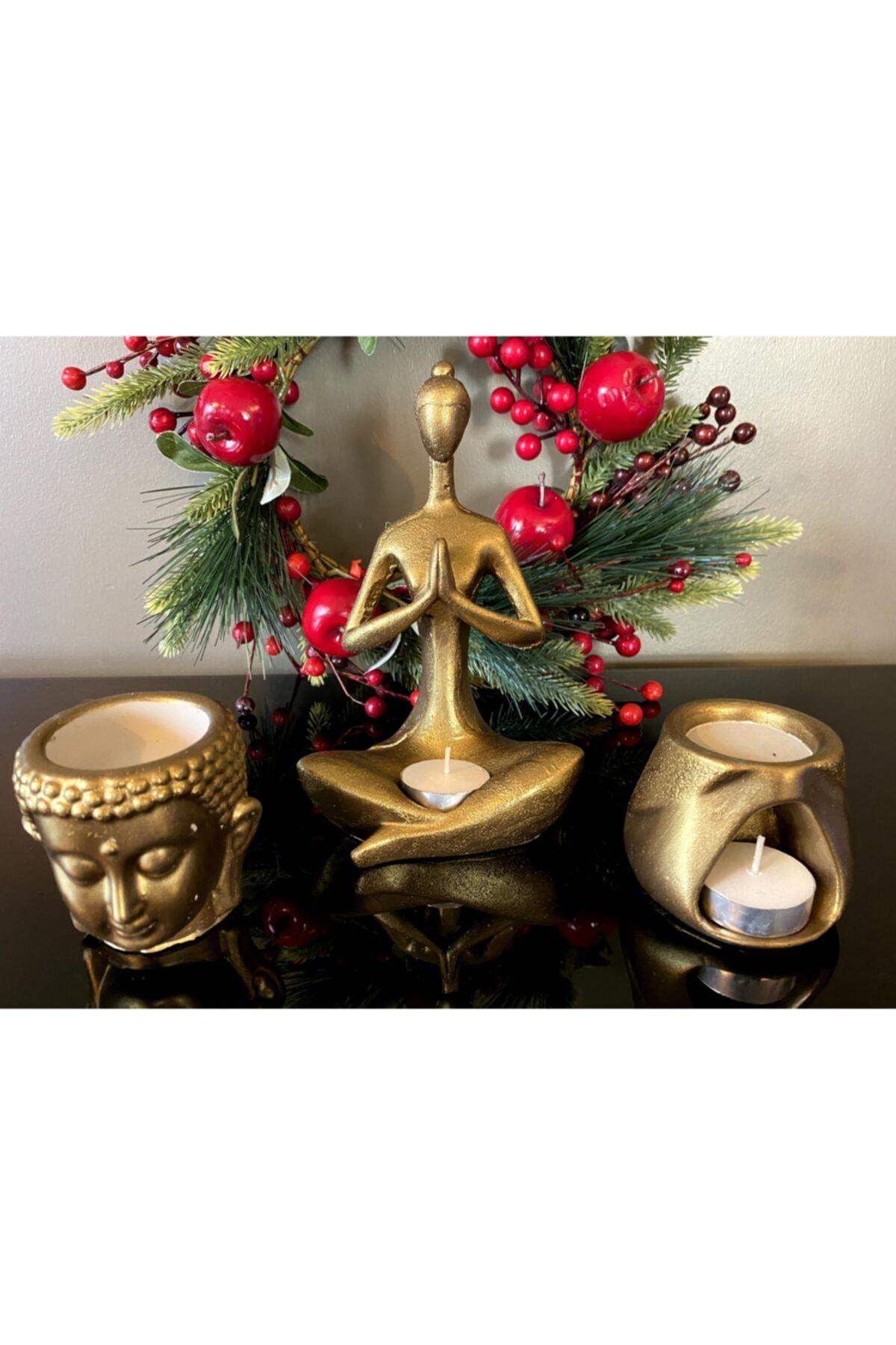 Talya Art Design , Buhurdanlık 3'lü Set, Koyu Altın Rengi, Namaste Kadın, Budha Ve Tad Buhurdanlık 2