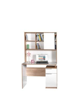 Adore Mobilya Plus Üniteli Çekmeceli Çalışma Masası - Sonoma-diamond Beyaz