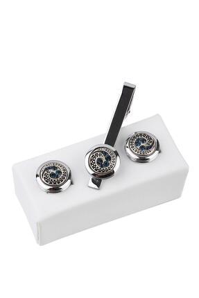 Kravatkolik Gümüş Renk Kol Düğmesi Ve Kravat Iğnesi Set Kd966