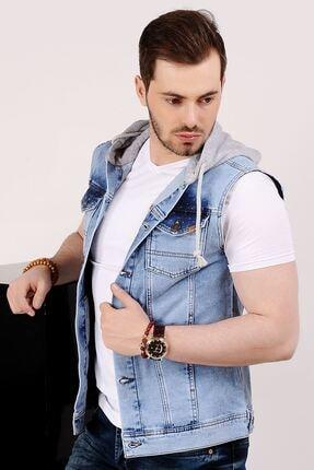 LTC Jeans Benekli Kapüşonlu Açık Mavi Erkek Kot Yelek