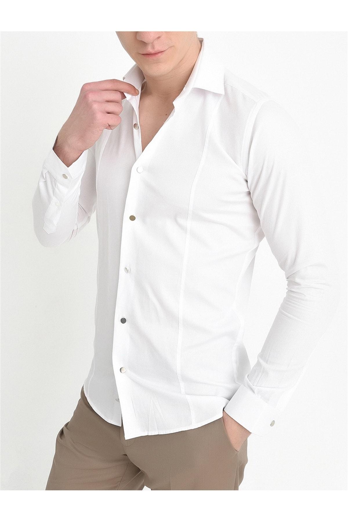 Efor G 1401 Slim Fit Beyaz Spor Gömlek 2