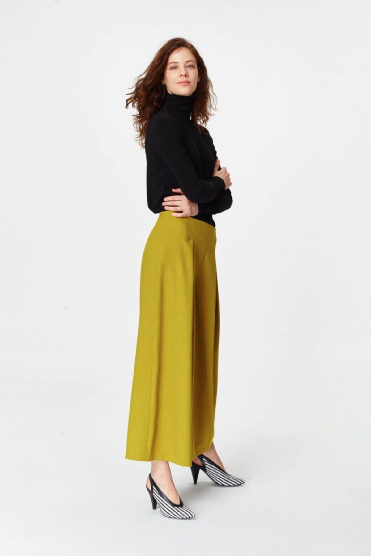 Mizalle Pile Detaylı Geniş Paça Pantolon (F.yeşil) 1