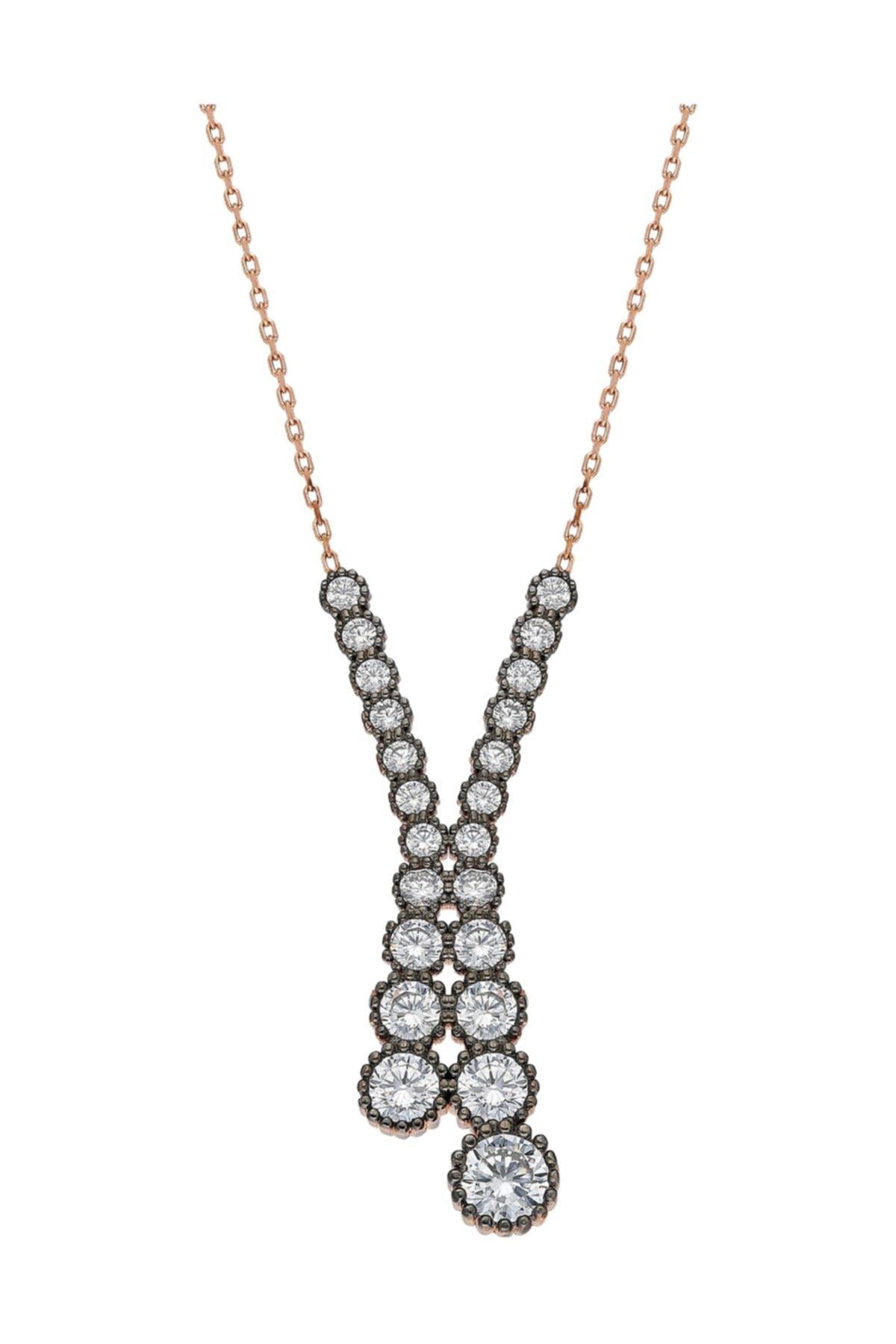 Chavin Elmas Tasarım Sırataşlı Rose Gümüş Kolye Ed23rs 1