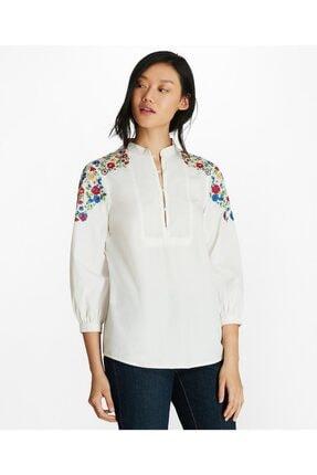 BROOKS BROTHERS Kadın Beyaz Çiçek Işlemeli Poplin Bluz