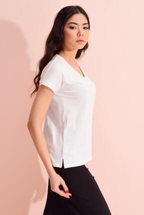 TENA MODA Kadın Ekru V Yaka Geniş Salaş Tişört