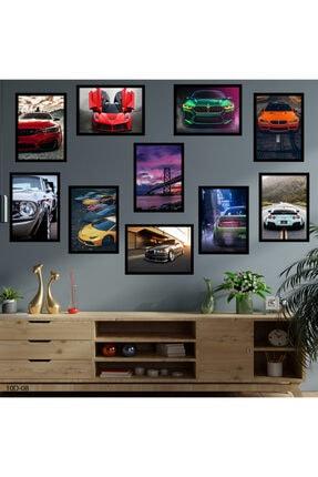 hanhomeart Araba Tema Çerçeve Görünüm 10 Parça Duvar Tablo Seti