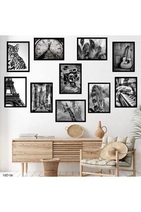 hanhomeart Siyah Beyaz Tema Çerçeve Görünüm 10 Parça Duvar Tablo Seti