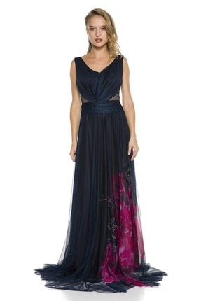 Abiye Sarayı Lacivert Bel Detaylı Çiçek Desenli Uzun Abiye Elbise