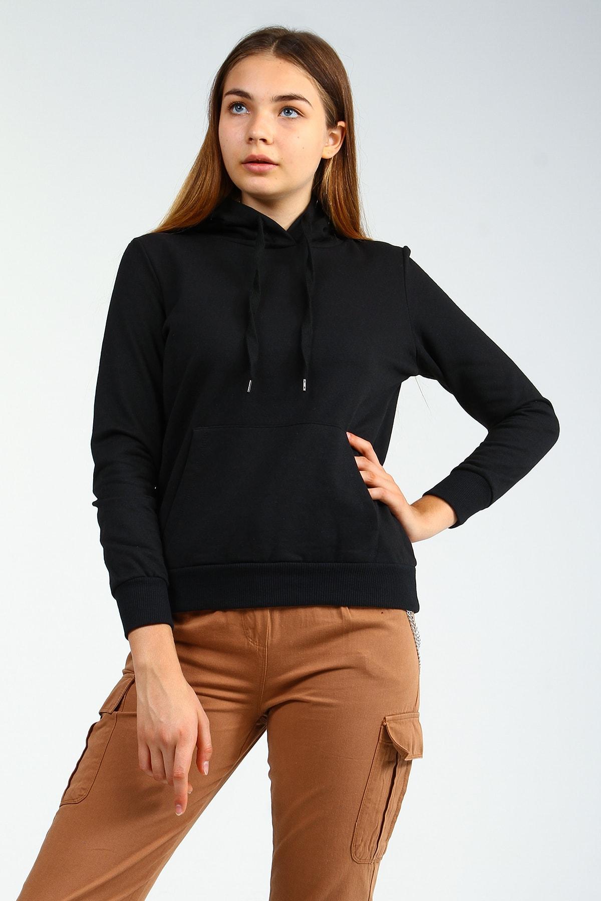 Collezione Siyah Kapişonlu Ön Cepli Uzun Kollu Kadın Sweatshirt 1