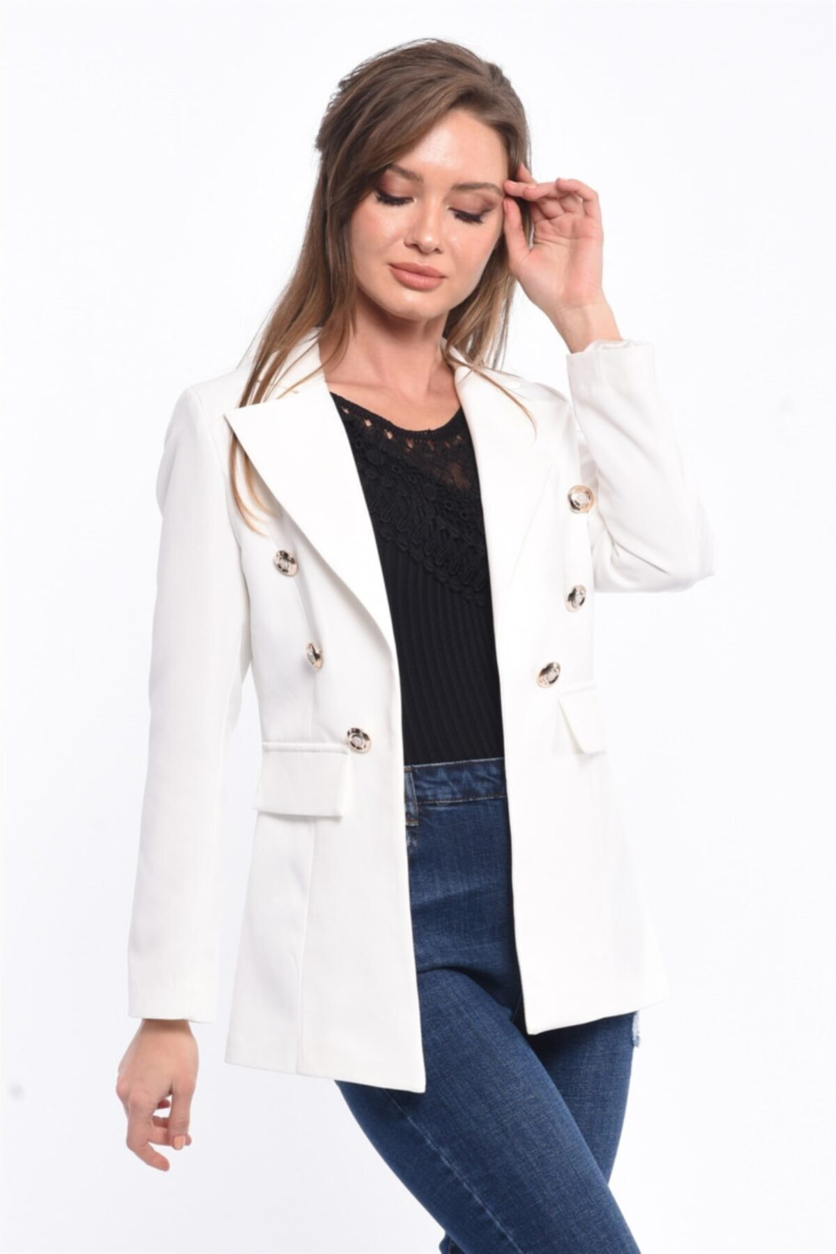For Angels Beyaz Blazer Ceket 201830136 1