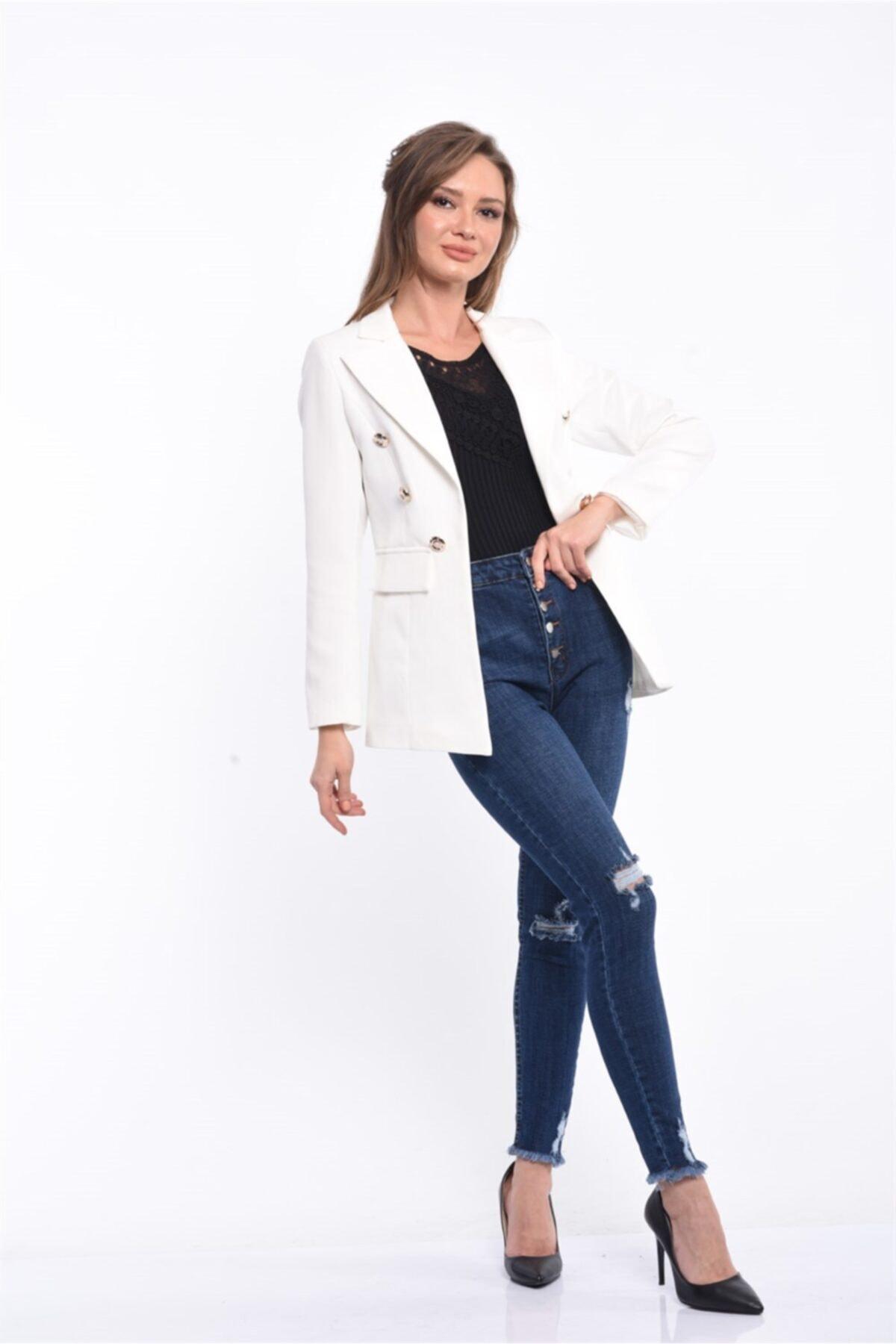 For Angels Beyaz Blazer Ceket 201830136 2