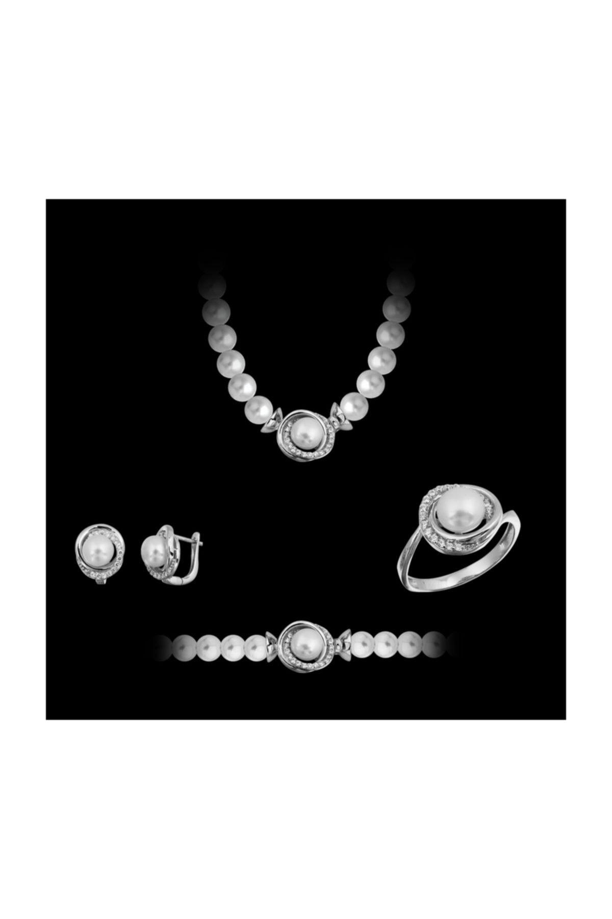 Chavin Inci Gümüş Kolye Küpe Bileklik Yüzük Takım Set Ee05 2