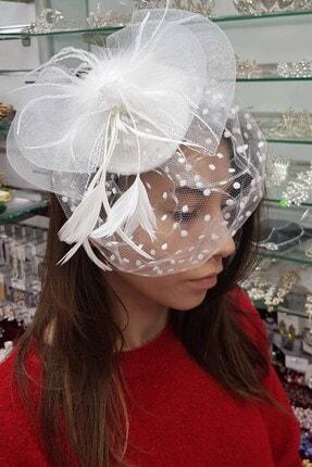 Hayalperest boncuk Beyaz Puantiyeli Violet Nikah Şapkası
