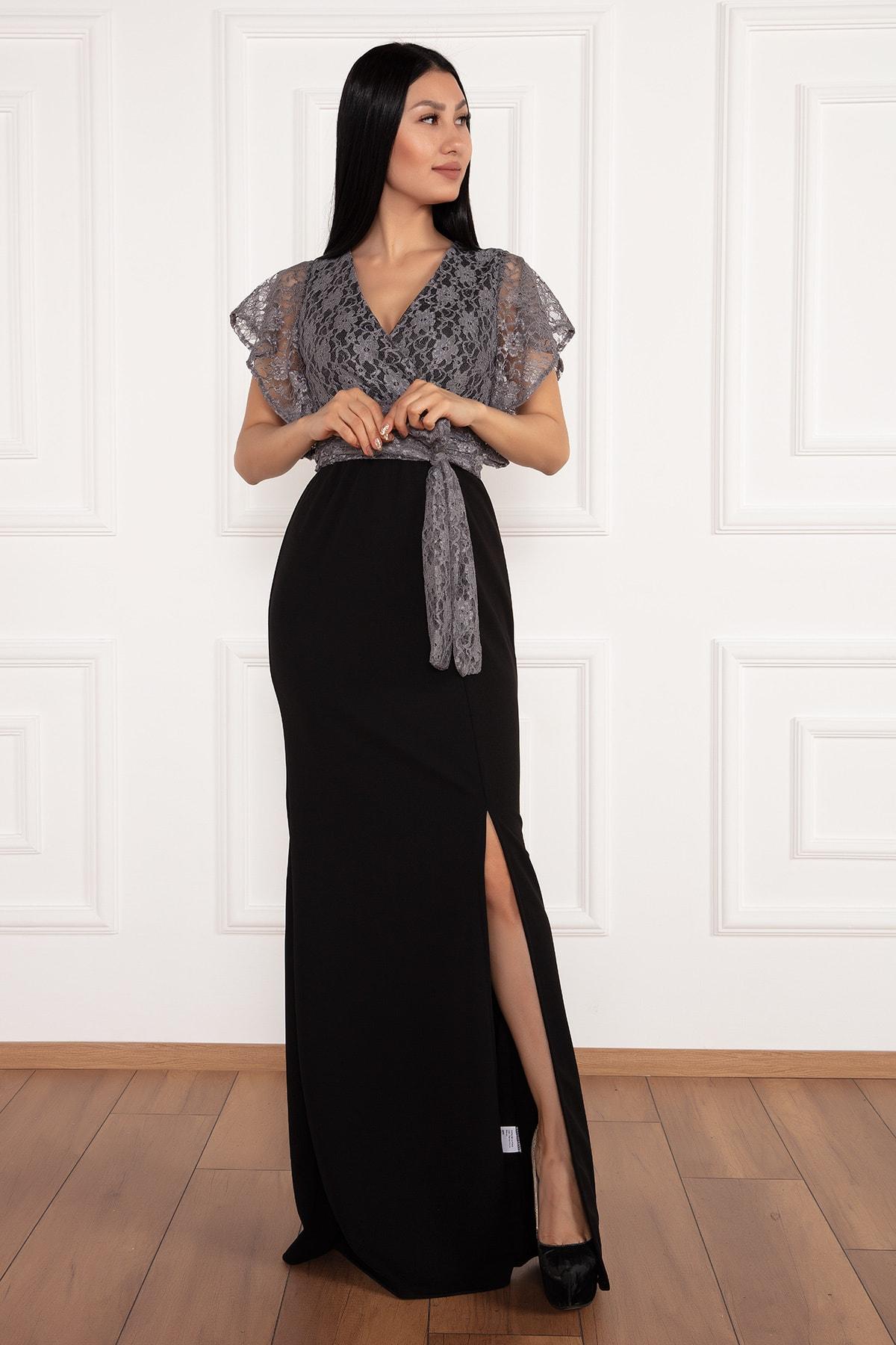PULLIMM Olive 13214 Krep Üstü Dantel Uzun Elbise 1