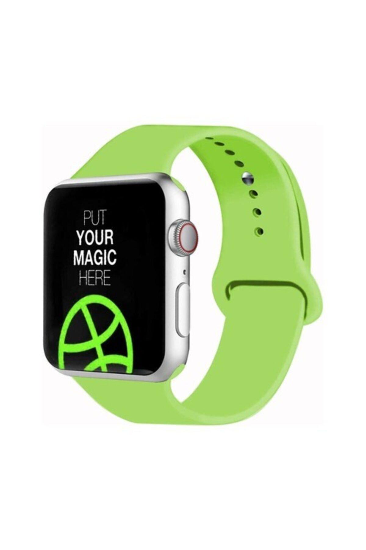 Bilişim Aksesuar Apple Watch 38 - 40 Mm Spor Kordon Silikon Kayış Açık Yeşil 1