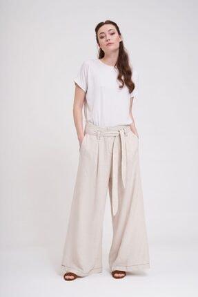 Mizalle Dikiş Detaylı Pantolon (Bej)