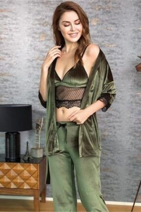 Anıl 5513 3'lü Sabahlıklı Bralet Sütyenli Kadife Pijama Takımı