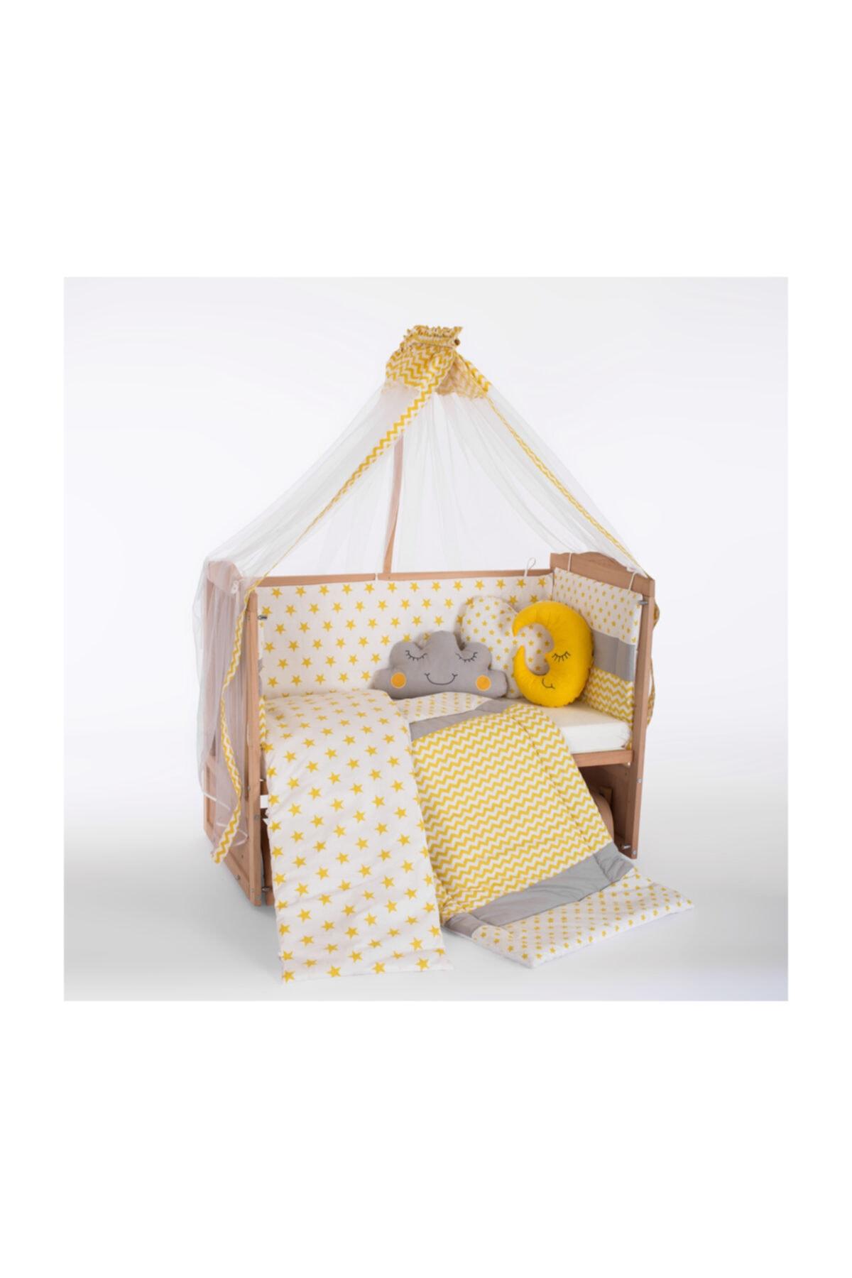 Heyner Ahşap Beşik Anne Yanı Beşik Sallanır Beşik Organik 60x120 + Sarı Yıldız Uyku Seti + Yatak 2