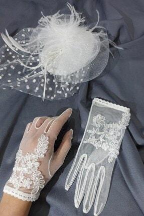 Hayalperest boncuk Beyaz Çiçekli Eldiven-vualet Nikah Şapkası