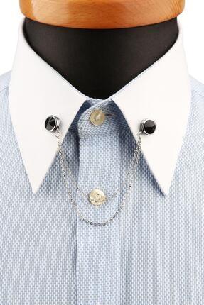 Kravatkolik Gümüş Renk Siyah Taşlı Zincirli Gömlek Yaka Iğnesi Gı193