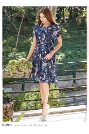 Eros Esk21594 Önü Düğmeli Çiçekli Elbise - - Görsel Rengi - 42